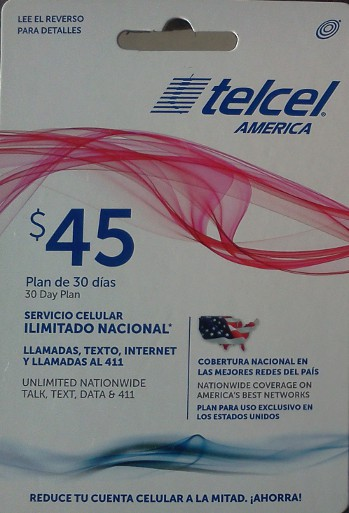 Telcel $45 Unlimited plan