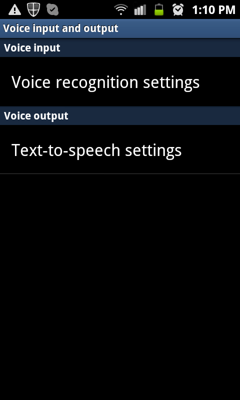 Android - Text-to-speech settings