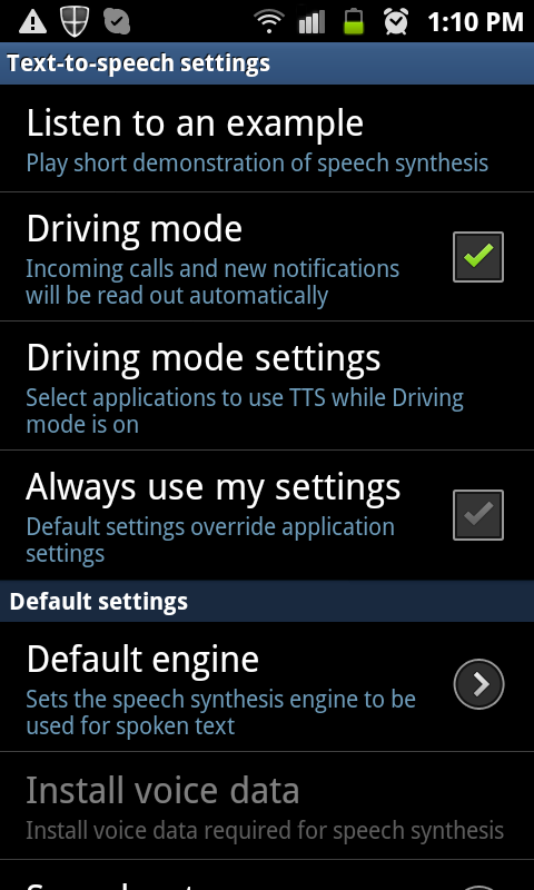 Android - check Driving mode