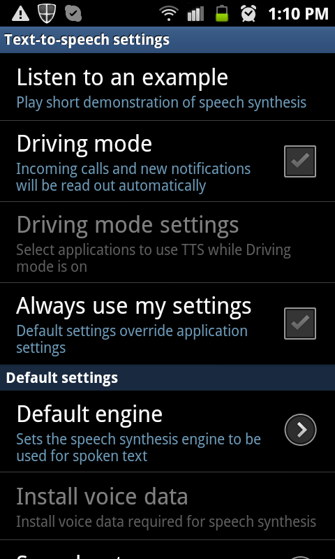 Android - uncheck Driving mode